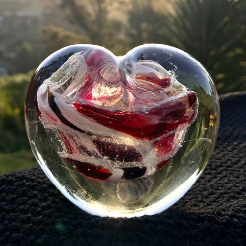 handblown glass memorial hearts