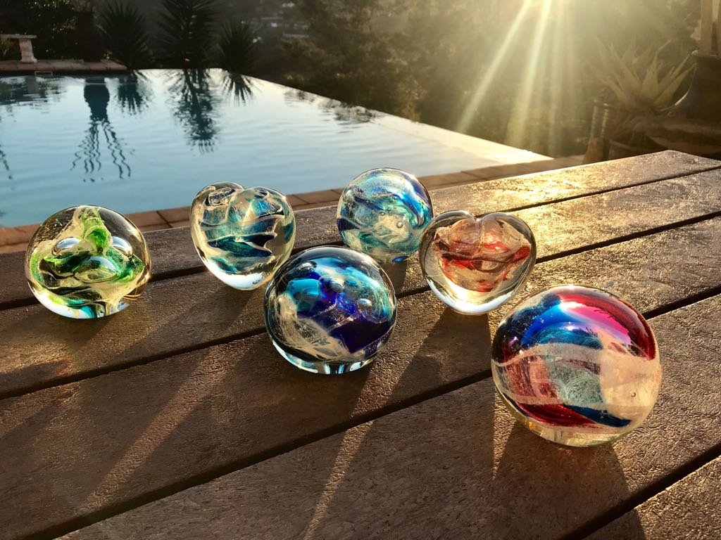 handblown glass memorial orbs and hearts