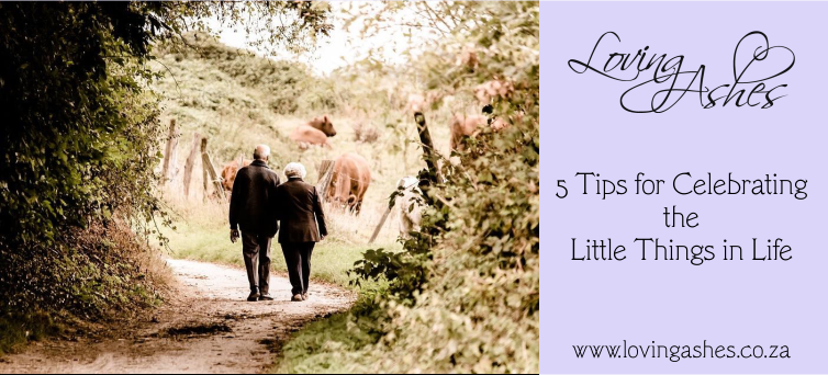 Elderly couple taking a walk down a dirt road and appreciating the daily little reminders that life is wonderful